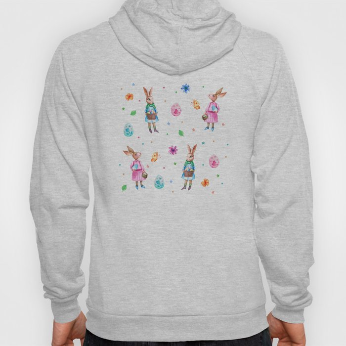 Easter pattern with rabbits and eggs Hoody