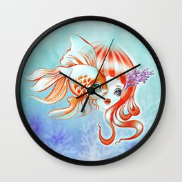 Jellyfish Girl & Goldfish Wall Clock