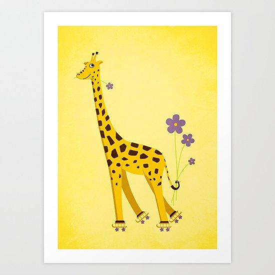 Yellow Funny Roller Skating Giraffe Art Print
