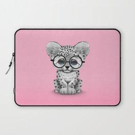Cute Snow Leopard Cub Wearing Glasses on Pink Laptop Sleeve