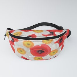 Daffodils & Poppies blossoms Flowers pattern design Fanny Pack