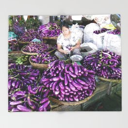 Eggplant Vendor, Myanmar Throw Blanket