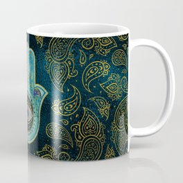 Decorative Hamsa Hand with paisley background Coffee Mug