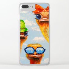 Ostriches friends Clear iPhone Case