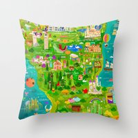 narnia Throw Pillows featuring Imagine Nation by Kitkat Pecson