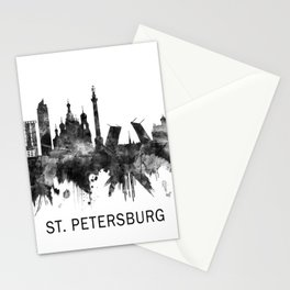St. Petersburg Russia Skyline BW Stationery Cards