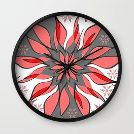 Wild Flower In Shades of Peach, Red, Grey and White Wall Clock