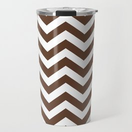 Chocolate Brown Chevron Zig Zag Pattern Travel Mug