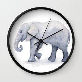 Elephant Watercolor Wall Clock