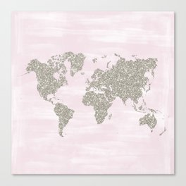 Pink and silver glitter world map Canvas Print