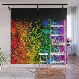 Black Rainbow Color Splatter Wall Mural