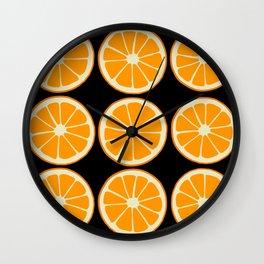 Oranges on Black, Fruit Pattern Wall Clock