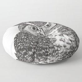 Great Horned Owl Wearing a Glittering Crown Floor Pillow