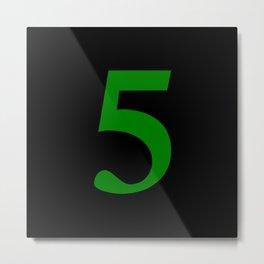 5 (GREEN & BLACK NUMBERS) Metal Print