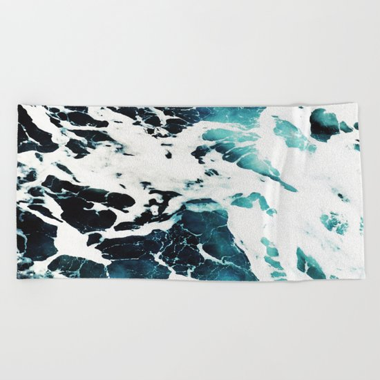 Dark Ocean Waves Beach Towel