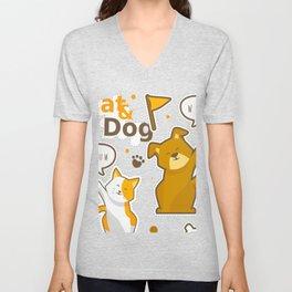 Cat And Dog Hello Stickers Set Unisex V-Neck