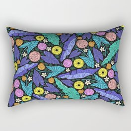 Neon Tropical Jungle Leaves Pattern Rectangular Pillow