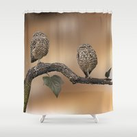 owls Shower Curtains featuring Owls by Gouzelka