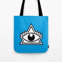third eye Tote Bags featuring Third Eye by Diogo Rueda