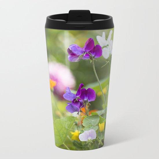 Summer Flowers colorful green meadow Metal Travel Mug