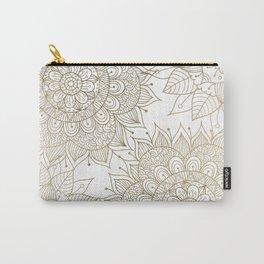 Elegant faux gold white spiritual floral mandala Carry-All Pouch