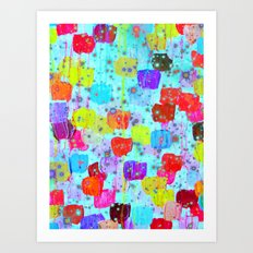 SPECKLE ME DOTTY - Bright Polka Dot Cheerful Aqua Turquoise Blue Rainbow Fine Art Abstract Painting Art Print