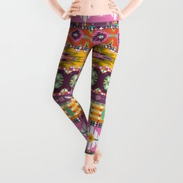 Seamless colorful aztec geometric pattern with birds and arrows Leggings