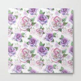 Modern hand painted purple lavender watercolor roses floral Metal Print