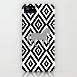 Horse - Abstract geometric pattern - gray, black and white. iPhone Case