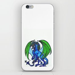 Blue-and-green dragoness iPhone Skin