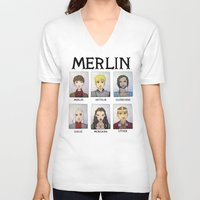 merlin V-neck T-shirts featuring MERLIN by Space Bat designs