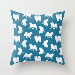 Samoyed Pattern (Blue Background) Throw Pillow