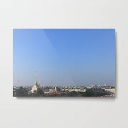 Clear sky cityscape. Admiralty building and winter palace. Metal Print