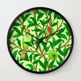 Art Nouveau Bird and Pomegranate, Lime Green Wall Clock