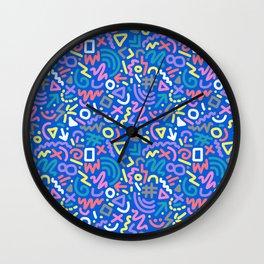 Bright Hand-Drawn 90s Pattern Wall Clock