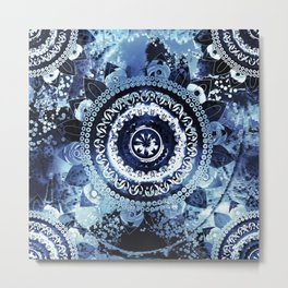 Navy Sea Mandala Metal Print