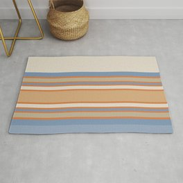 Blue Cream Stripes Rug
