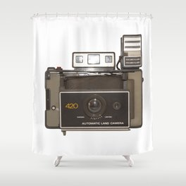 instant vintage camera Shower Curtain