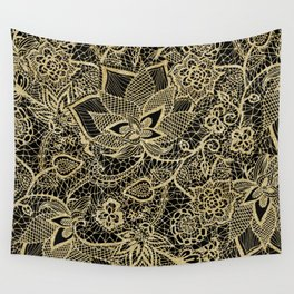 Elegant gold black hand drawn floral lace pattern  Wall Tapestry