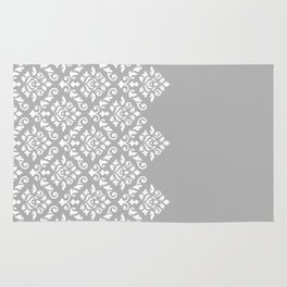Damask Baroque Part Pattern White on Grey Rug