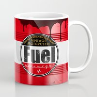 cafe racer Mugs featuring vintage fuel barrel mug cafe racer motorcycle by Jonathan Wos