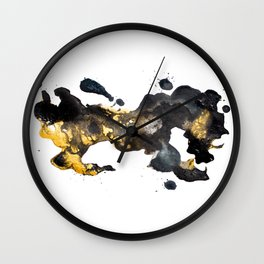 minimalist black and gold abstract flow painting Wall Clock