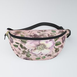 Blush pink burgundy watercolor marble floral Fanny Pack