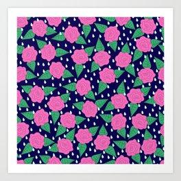 Raindrops and Roses - Pink and Navy Blue Art Print