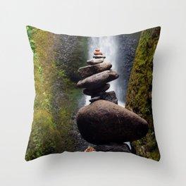 Stone Carin, Oneonta Falls, Oneonta Gorge, Oregon Throw Pillow