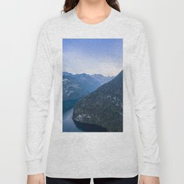 königssee alps bayern forrest drone aerial shot nature wanderlust boat mountains Long Sleeve T-shirt
