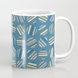 Paint Stripe Circles in Muted Jewel Tones Green Blue Pink Yellow Coffee Mug