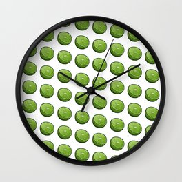 Green Limey Limes on White Wall Clock