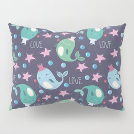 seamless pattern with the image of cute whales in hats, stars and bubbles on a dark background Pillow Sham