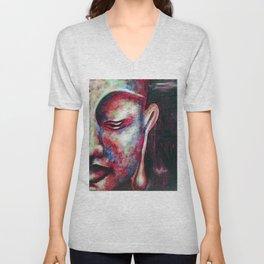 Half Buddha Face Unisex V-Neck